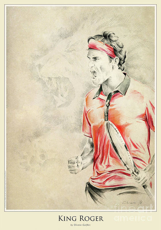 Golfer Art Print featuring the painting King Roger - Poster by Olivera Cejovic