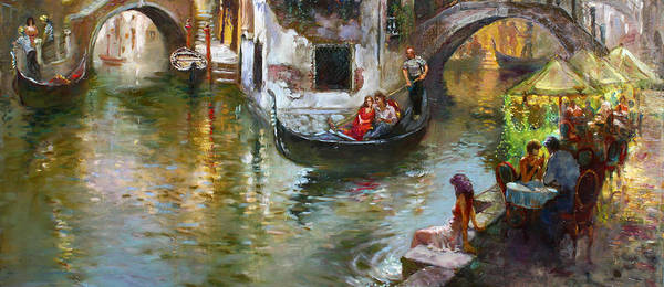 Venice Art Print featuring the painting Romance in Venice 2 by Ylli Haruni