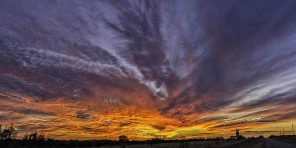 Sunset Art Print featuring the photograph 201311110-008m Fiery Sunset 8 2x1 by Alan Tonnesen