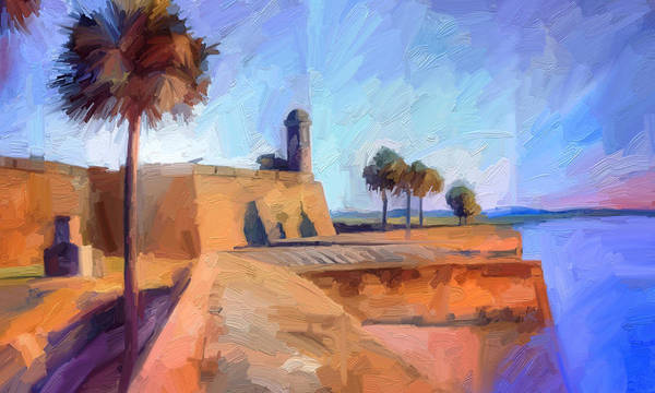St. Augustine Art Print featuring the digital art Castillo Rampart by Scott Waters