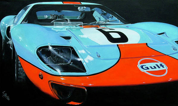 Automotive Art Print featuring the painting Legend Of LeMans by Lynn Masters