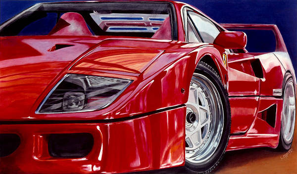 F40 Art Print featuring the painting Reflection Of An Admirer by Lynn Masters