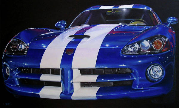 Car Art Print featuring the painting Snake Eyes by Lynn Masters