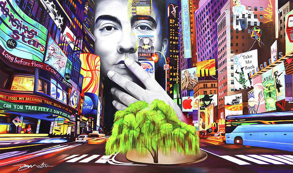 The Dave Matthews Band Art Print featuring the painting Dave Matthews Dreaming Tree by Joshua Morton