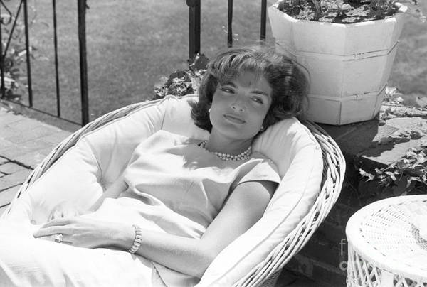 Jacqueline Kennedy Art Print featuring the photograph Jacqueline Kennedy relaxing at Hyannis Port 1959. by The Harrington Collection