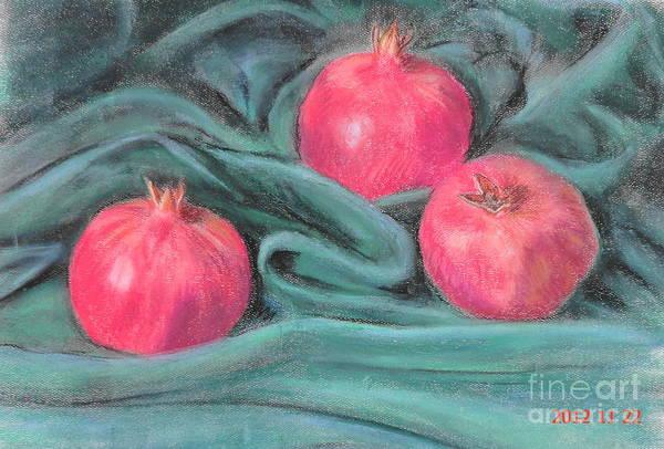 3 Pomegranates Art Print featuring the painting Pomegeranates by Ziba Bastani