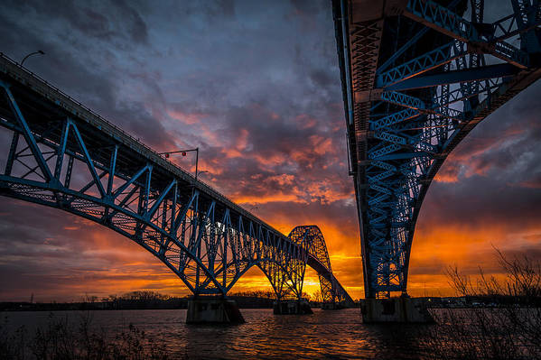 Grand Island Bridge Sunrise by John R Witt