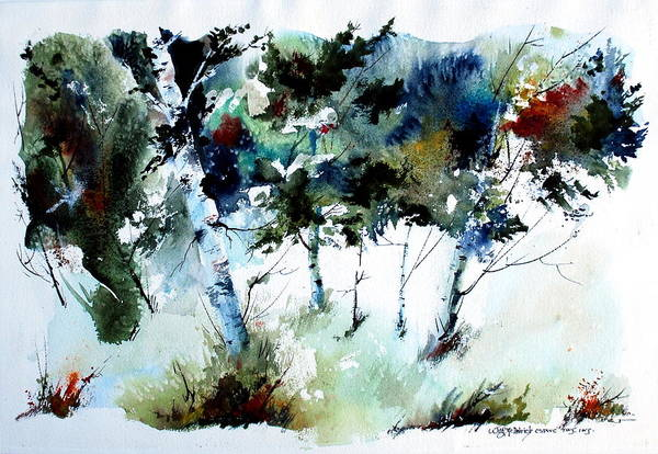 Abtract Forest Trees Art Print featuring the painting How Green Was MY Valley by Wilfred McOstrich
