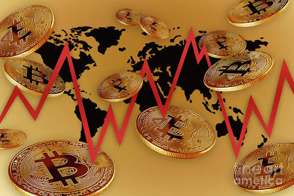 Golden Bitcoin Global Market by Caia Image/science Photo Library