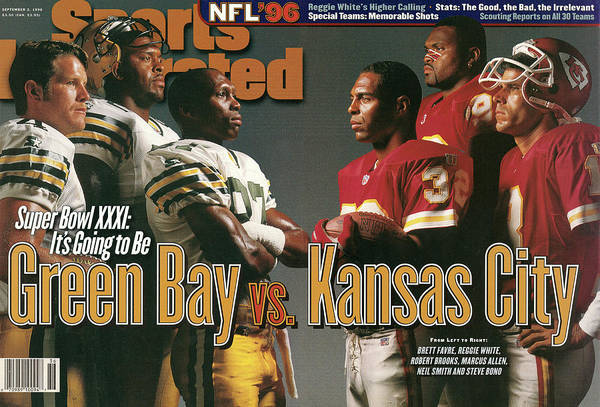 Green Bay Art Print featuring the photograph Green Bay Packers And Kansas City Chiefs, 1996 Nfl Football Sports Illustrated Cover by Sports Illustrated