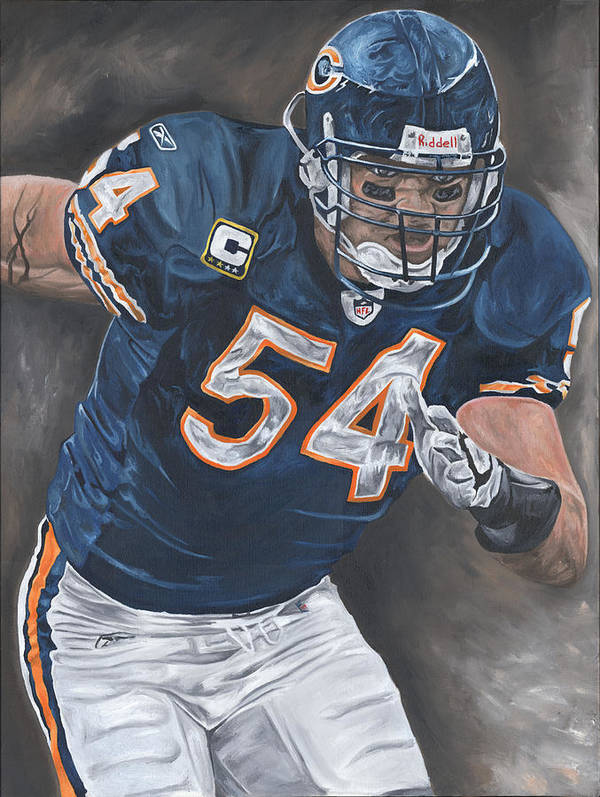 Brian Urlacher Chicago Bears Nfl Football Sports Painting Tackle Linebacker Defense David Courson Art Art Print featuring the painting Brian Urlacher Seek And Destroy by David Courson