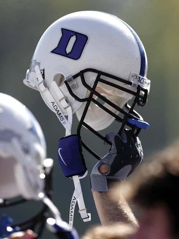 Duke Football Print featuring the photograph Duke Football Helmet by Duke University