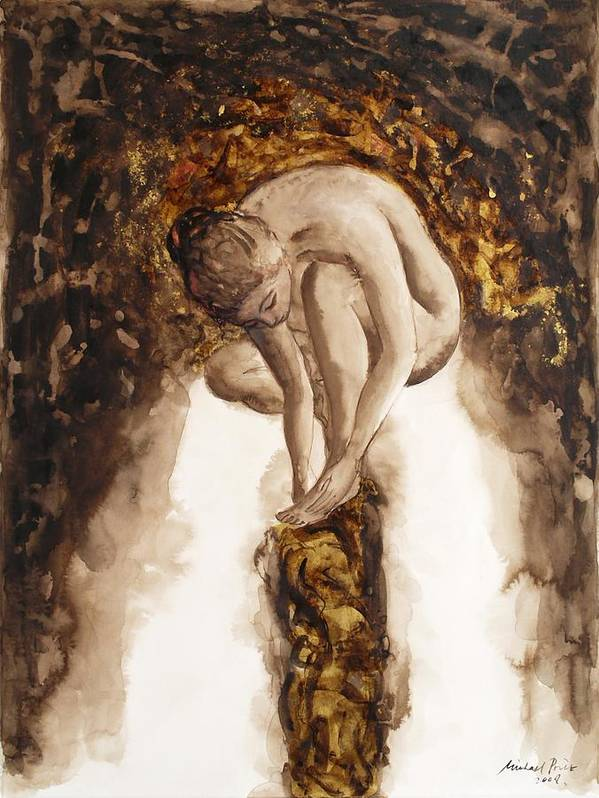 Nude Art Print featuring the painting Golden Column by Michael Price