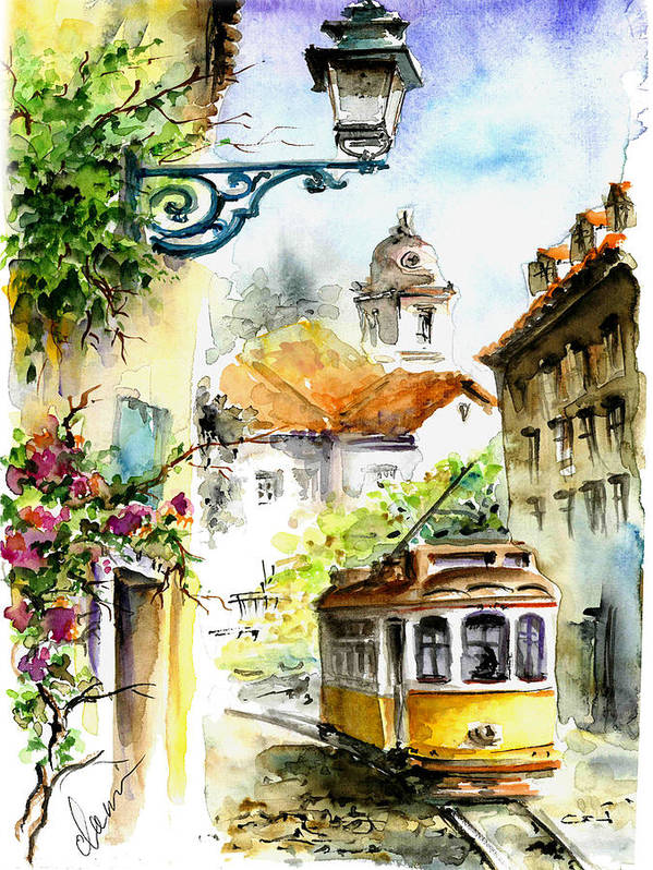 Graca Lisbon Tram Color by Elena Petrova Gancheva