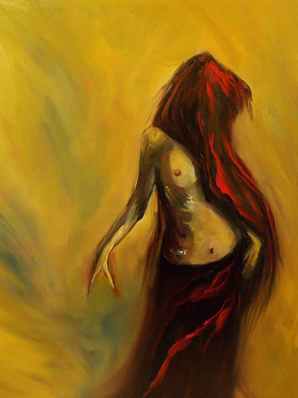 Semi Nude Woman Hair Yellow Art Print featuring the painting Tu Solo Tu by Niki Sands