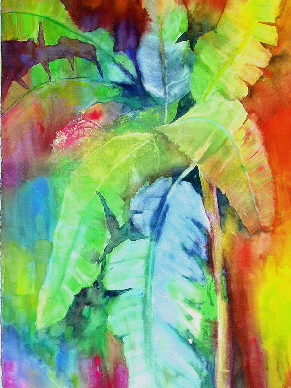 Tropical Tree Art Print featuring the painting Banana Leaves by Maritza Bermudez