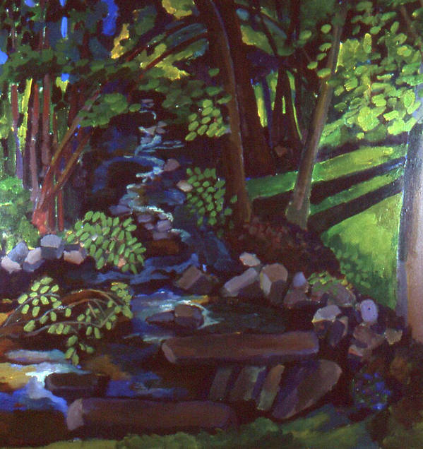 Landscape With Stream Art Print featuring the painting Runoff Stream by Doris Lane Grey