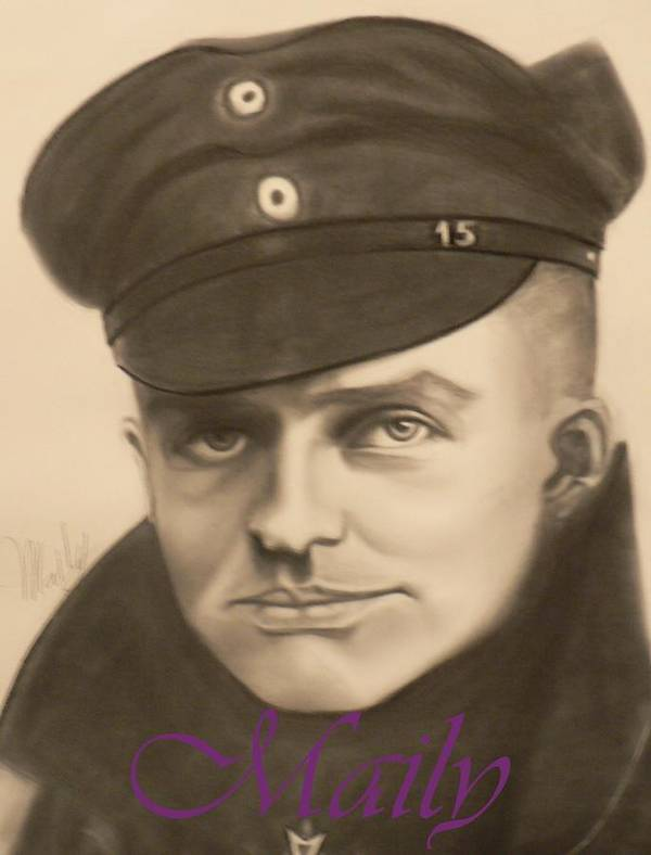 Manfred Richthophen Wwi Art Print featuring the painting Red Baron by Maily