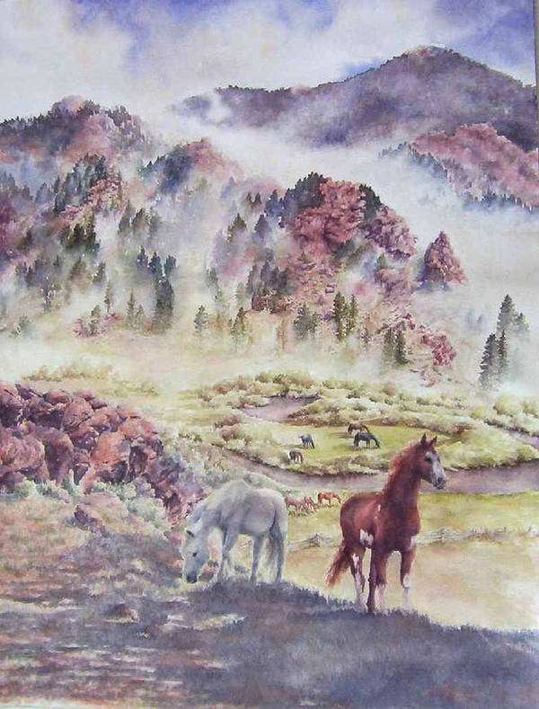 Horses Art Print featuring the painting Out Of The Mist by Barbara Widmann
