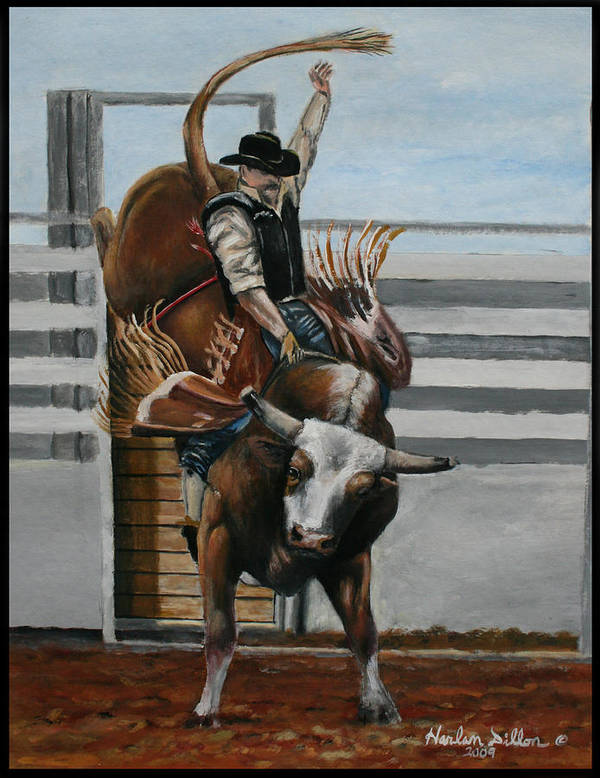 Rodeo Art Print featuring the painting Bullrider by Harlan Dillon