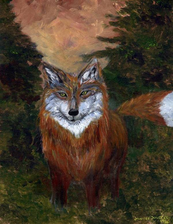 Foxes Art Print featuring the painting Red Fox - Www.jennifer-d-art.com by Jennifer Skalecke