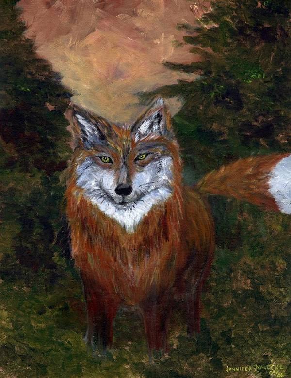 Foxes Art Print featuring the painting Red Fox - www.jennifer-d-art.com by Jennifer Skalecke