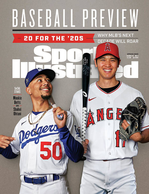 Magazine Cover Art Print featuring the photograph Los Angeles Dodgers Mookie Betts And Los Angeles Angels Sports Illustrated Cover by Sports Illustrated