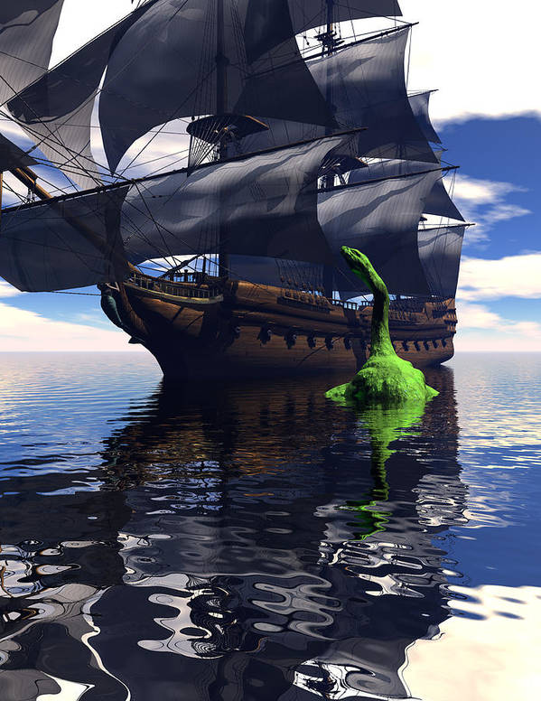 Bryce 3d Scifi sea Dragon Fantasy tall Ship Windjammer \sailing Ship\ Sailing Art Print featuring the digital art Mariner's Nightmare by Claude McCoy