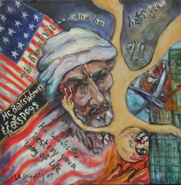 9/11 Art Print featuring the painting This Man Is Evil by Lee Anne Stieglitz