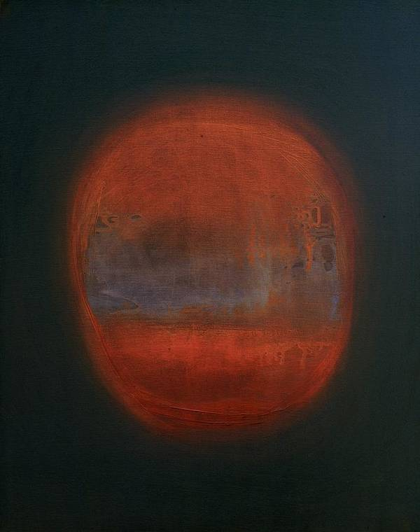 Abstract Expressionist Art Print featuring the painting Orange Orb by Kongtrul Jigme Namgyel