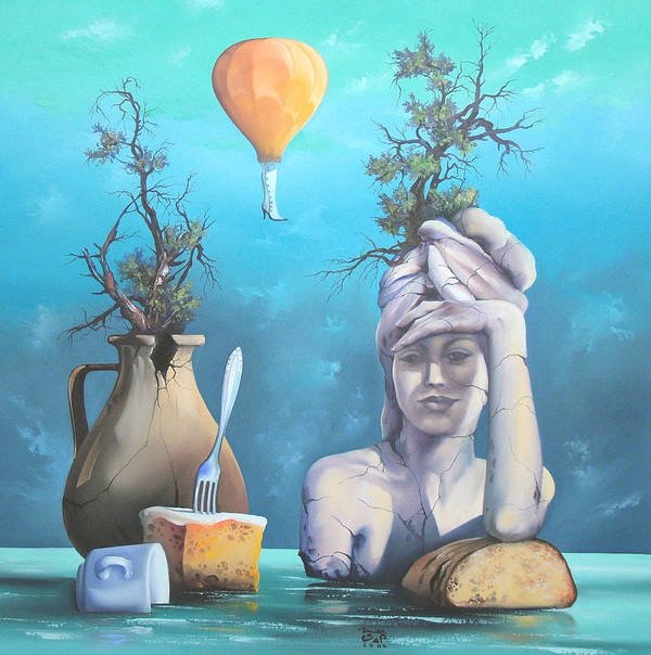 Art Print featuring the painting Archaic Breakfast by Zoltan Ducsai