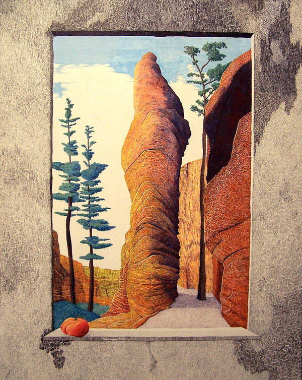 Landscape Art Print featuring the painting Reared Window by A Robert Malcom