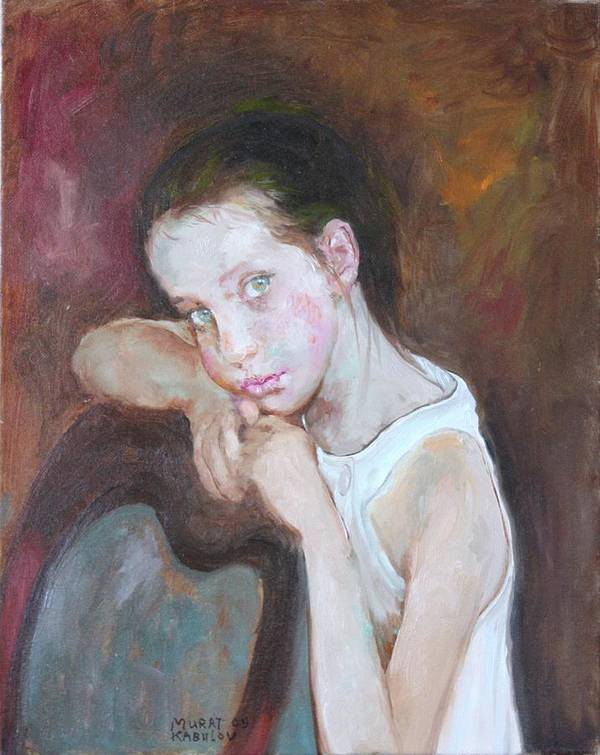 Portrait Art Print featuring the painting Portrait Of A Little Girl by Murat Kaboulov
