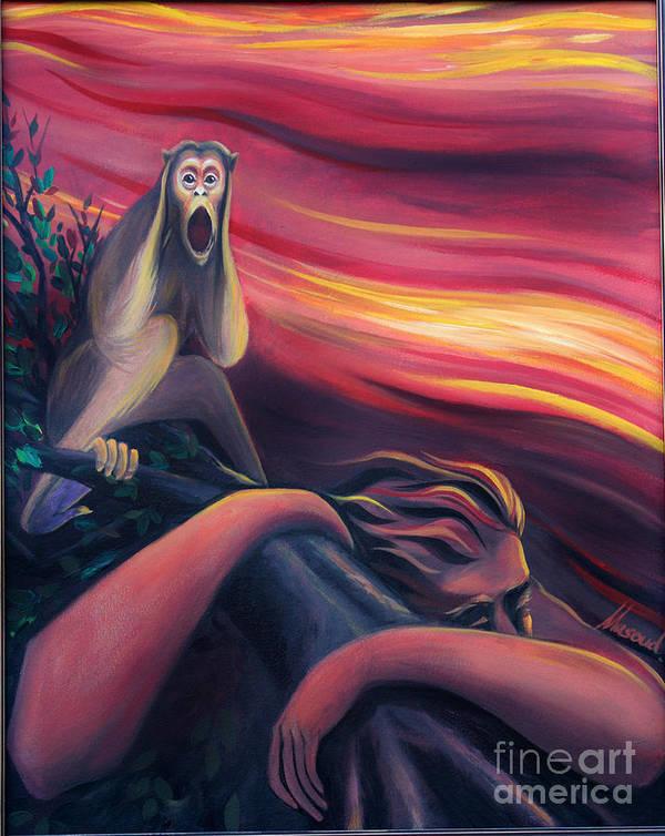 Scream Art Print featuring the painting Scream by Masoud Farshchi