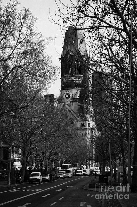 looking down Kurfurstendamm towards Kaiser Wilhelm Gedachtniskirche memorial church Berlin Germany by Joe Fox