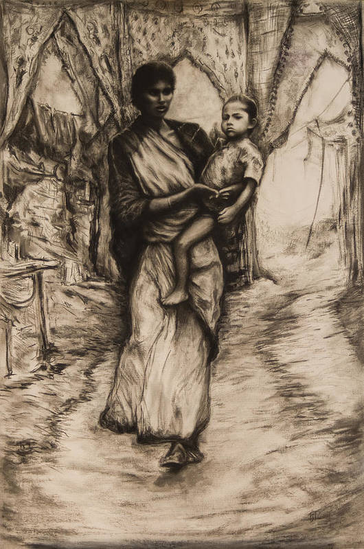 India Mother Child Relationship Caring Bond Anxious Surreal Madonna Art Print featuring the drawing Mother And Child by Tim Thorpe