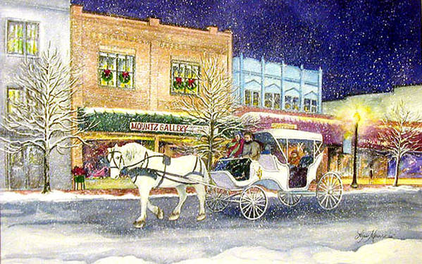 Horse;carriage;carriage Ride;winter;snow;holiday;christmas;lamplight; Art Print featuring the painting Home For The Holidays by Lois Mountz