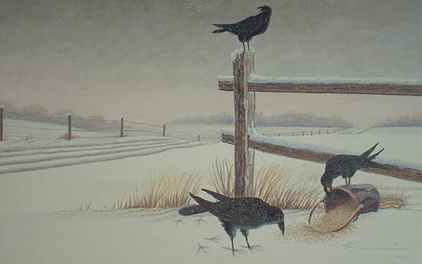 Crows Art Print featuring the painting Hurry Up... Eat Fast. by Keith Kochenour