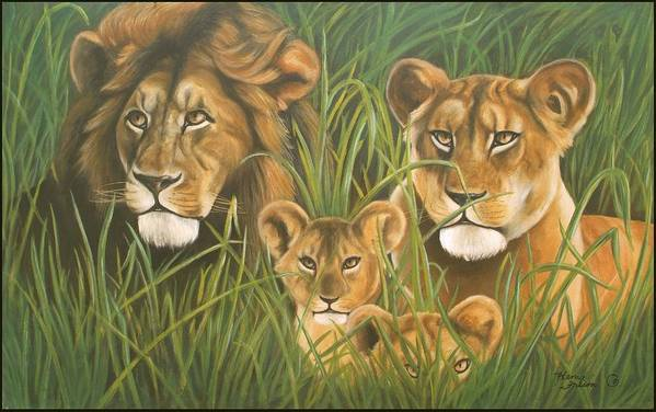 Animal Art Print featuring the painting Lion Family by Henry Frison
