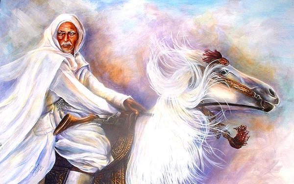 Portrait Art Print featuring the painting Moroccan Man Riding Arabian Stallion by Patricia Rachidi