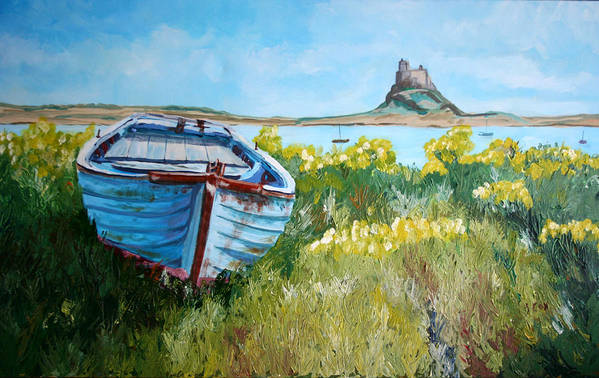 Seascape Art Print featuring the painting Boat On Lindisfarne. by John Cox