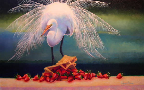Egret Art Print featuring the painting Egret With Strawberry Bag by Valerie Aune