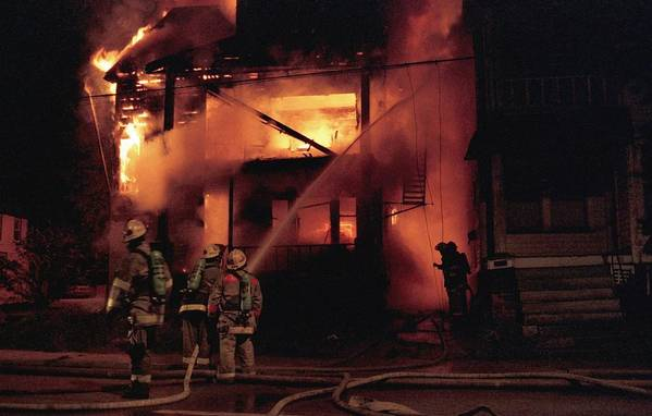 Fire Art Print featuring the photograph 071506-4 Cleveland Firefighters On The Job by Mike Davis