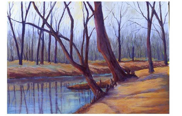 Landscape Art Print featuring the painting Cypress Trees by MaryAnn Stafford
