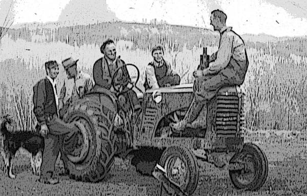 Tractor Art Print featuring the digital art Social Gathering At The Tractor by Donald Burroughs