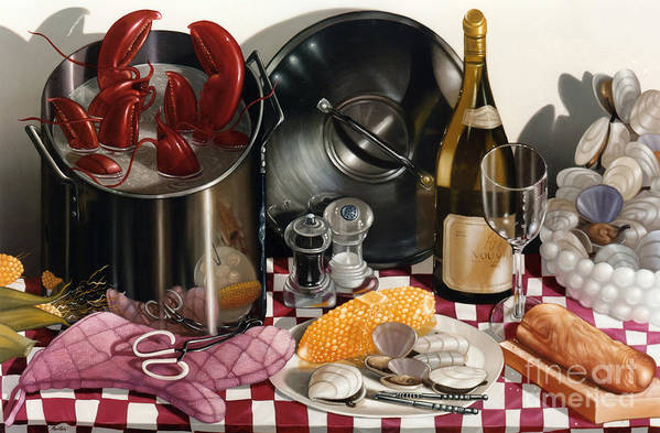 Lobsters Art Print featuring the painting Seafood Serenade 1996 Skewed Perspective Series 1991 - 2000 by Larry Preston