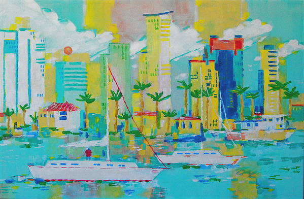 Water Art Print featuring the painting Bay View by Art Mantia