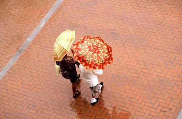Rain Art Print featuring the photograph Chatting In The Rain - Umbrellas Series 1 by Carlos Alvim