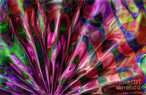 Abstract Realism Colors Fans Abstract Digital Art Print featuring the digital art Silken Fan by Carolyn Staut