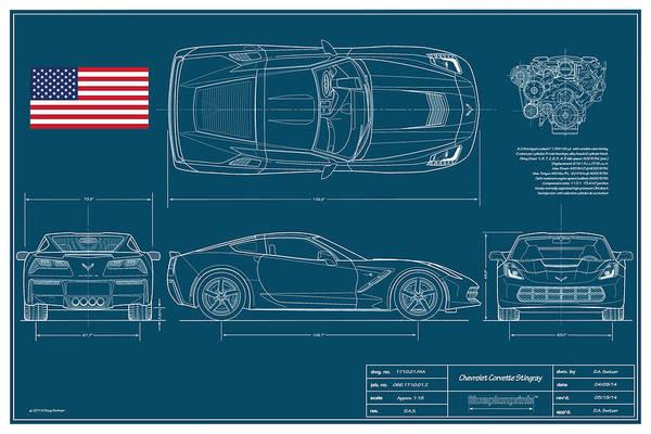 Corvette Coupe Art Print featuring the digital art Corvette Stingray Blueplanprint by Douglas Switzer